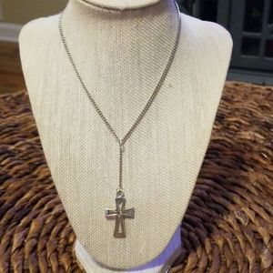 Silver plated necklace with drop cross charm.